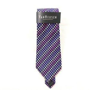 NWT Van Heusen Purple Dot Tie Work Wear